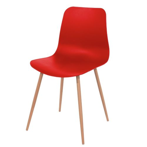 Aspen red plastic chair, wood effect metal legs (sold in pairs) ASCH7R